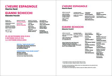 Programme de salle : L'Heure espagnole, Ravel & Gianni Schicchi, Puccini. 2016/2017, Opéra national de Lorraine |