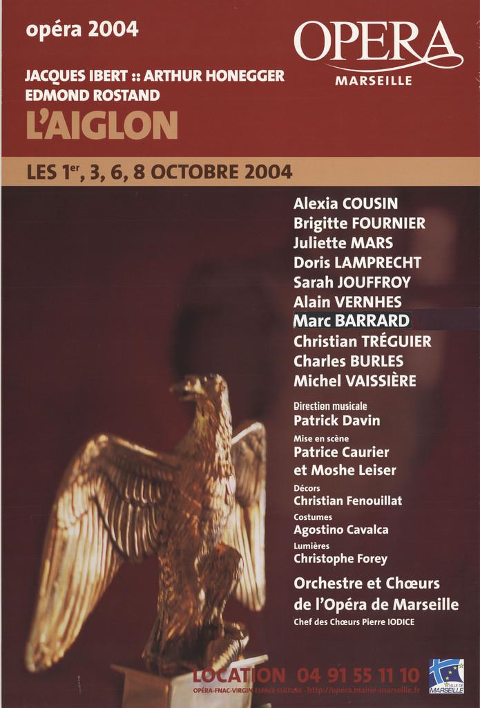 Affiche : Aiglon (L'). 2004/2005, Opéra de Marseille  