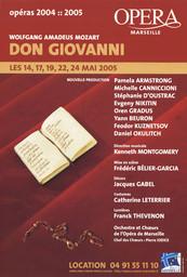 Affiche : Don Giovanni. 2004/2005, Opéra de Marseille |