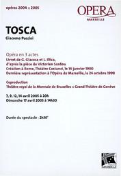 Programme de Salle : Tosca. 2004/2005, Opéra de Marseille |