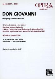 Programme de Salle : Don Giovanni. 2004/2005, Opéra de Marseille |