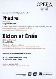 Programme de Salle : Phèdre. 2005/2006, Opéra de Marseille |