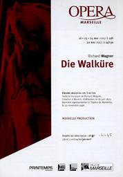 Programme de Salle : Walkyrie (La). 2006/2007, Opéra de Marseille |