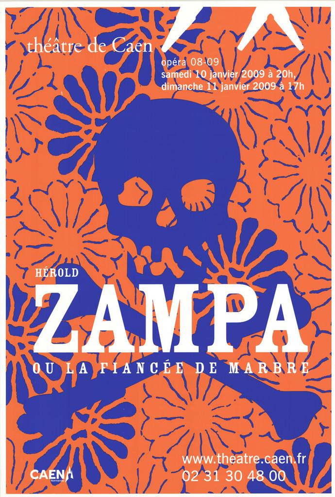 Affiche : Zampa ou la fiancée de marbre. 2008/2009, Théâtre de Caen  