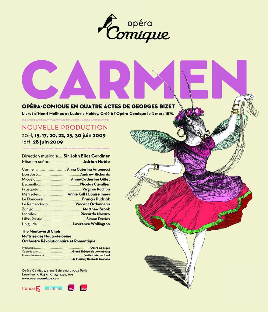 Affiche : Carmen. 2008/2009, Théâtre national de l'Opéra-comique  