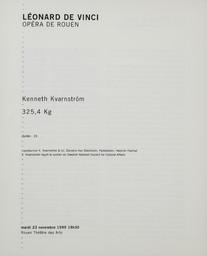 Programme de Salle : 325,4 Kg. 1999/2000, Opéra de Rouen Haute-Normandie |