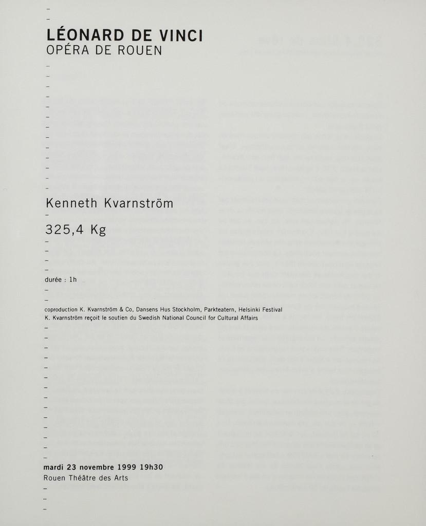 Programme de Salle : 325,4 Kg. 1999/2000, Opéra de Rouen Haute-Normandie  