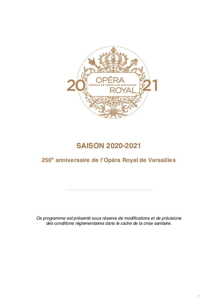 Opéra royal de Versailles - Brochure de saison. 2020/2021, Opéra royal de Versailles |